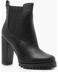 Boohoo - Cleated Platform Pull On Chelsea Boots - Lyst