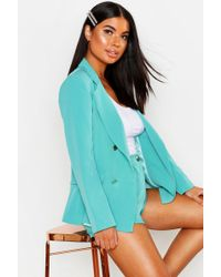 Boohoo - Petite Double Breasted Military Blazer - Lyst