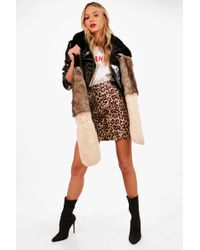 Boohoo | Maya Colour Block Faux Fur Scarf | Lyst