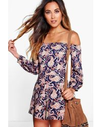 144ae182361 Boohoo - Off The Shoulder Paisley Print Playsuit - Lyst