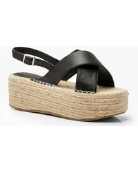 e32ccb47e15a Boohoo - Wide Fit Cross Strap Flatforms - Lyst