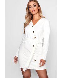 Boohoo - Plus Crepe Horn Button Tie Blazer Dress - Lyst