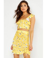 Boohoo - Mixed Floral Strappy Top & Ruffle Mini Skirt Co-ord - Lyst