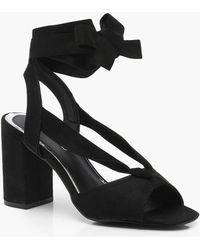 60117ab1e6f Boohoo Peeptoe Block Heels in Metallic - Lyst