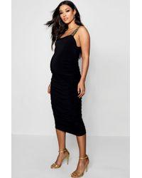 Boohoo - Maternity Bella Slinky Plunge Tape Detail Midi Dress - Lyst