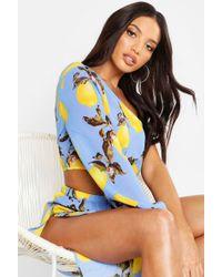 0686bcb04e Forever 21 Amale Lemon Print Kaftan Swim Cover-up in Yellow - Lyst