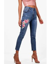 Boohoo - Raw Hem Floral Embroidered Skinny Jeans - Lyst