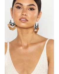 Boohoo - Turquoise Boho Metal Tassel Statement Earrings - Lyst
