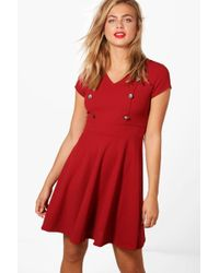 Boohoo - Anna Military Button Tailored Skater Dress - Lyst