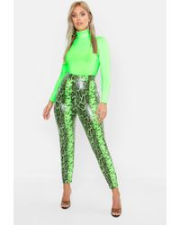 Boohoo - Plus Lime Faux Leather Snake Print Slim Trousers - Lyst