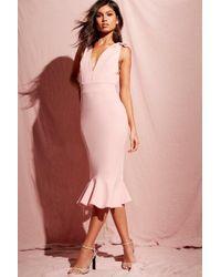 Boohoo - Plunge Front Peplum Hem Midi Dress - Lyst