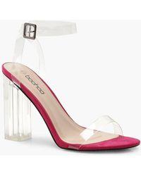 7caf5555841 Lyst - Boohoo Embellished 2 Part Block Heels in Metallic
