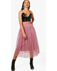 Boohoo - Boutique Full Tulle Midi Skirt - Lyst