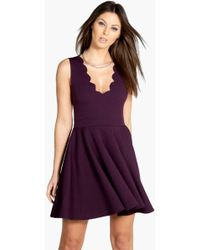 Boohoo - Scallop Plunge Skater Dress - Lyst