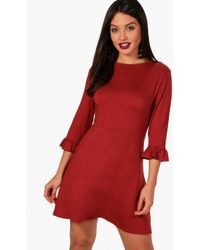 Boohoo | Fiona Frill Sleeve Tea Dress | Lyst