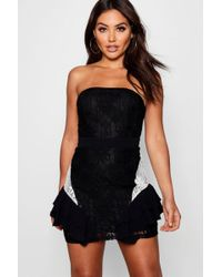147ba181fc0 Boohoo - Jade Bandeau Ruffle Detail Bodycon Dress - Lyst