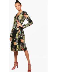 Boohoo - Tall Victoria Floral Print Wrap Kimono Dress - Lyst