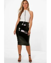 Boohoo - Plus High Shine Pu Midi Skirt - Lyst