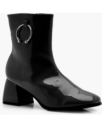 Lucy Block Heel Patent Horse Bit Trim Ankle Boots