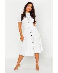 5438a65b94 Lyst - Boohoo Boutique Lace High Neck Skater Dress in White