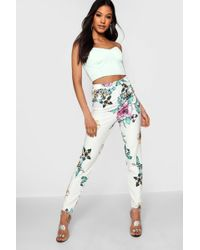 Boohoo - Floral Crape Contrast Button Trousers - Lyst