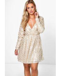 Boohoo - Plus Sequin Wrap Skater Dress - Lyst