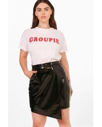 Boohoo - Plus High Shine Pu Wrap Skirt - Lyst