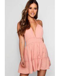 Boohoo - Petite Ruched Waist Frill Halterneck Beach Dress - Lyst