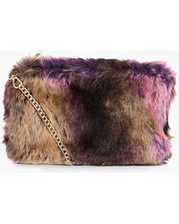 5f37ba174f Boohoo - Fliss Multi Faux Fur Cross Body Bag - Lyst
