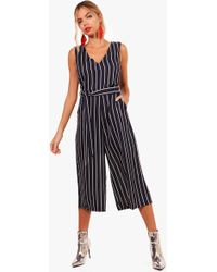 4e6a408a1821 Boohoo Abigail Denim Culotte Jumpsuit in Blue - Lyst
