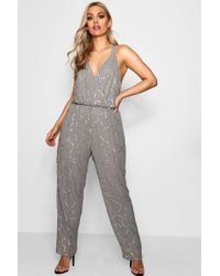 01742866314 Boohoo Boutique Lisa Deep Plunge Strappy Sequin Jumpsuit in Blue - Lyst