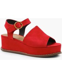Boohoo - Lucy Two Part Flatforms - Lyst