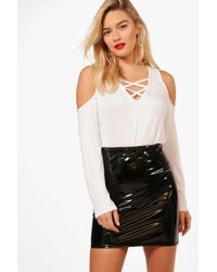 Boohoo   Lola Cage Front Cold Shoulder Top   Lyst