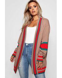 Boohoo - Plus Contrast Stripe Oversized Cardigan - Lyst