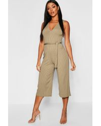 ab9cefd155f2 Lyst - Boohoo Zoe Wrap Front Self Belt Jumpsuit in Blue