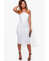Boohoo | Issy Strappy Lace Panelled Midi Bodycon Dress | Lyst
