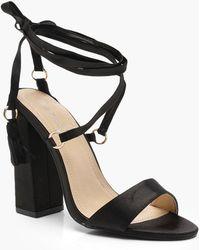 593969ec8ab Boohoo Clear Heel Wrap Strap Sandals in Black - Lyst
