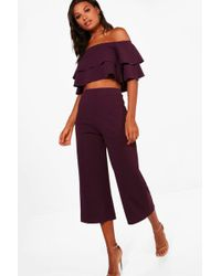 Boohoo - Dina Double Bandeau Top And Culotte Co-ord - Lyst