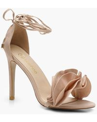 Boohoo - Ruffle Ankle Wrap Sandals - Lyst