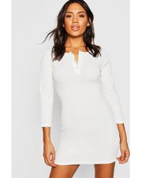757e7b7de01d Boohoo - Rib Knit Long Sleeve Button Up Mini Dress - Lyst