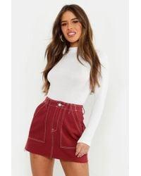 27b9faafb Boohoo - Petite Contrast Stitch Mini Skirt - Lyst