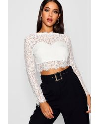 42c682f4f6c Boohoo Premium Lace Crop Top in Black - Lyst