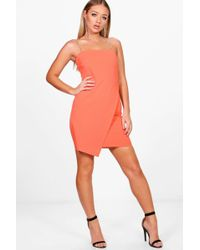 Boohoo | Liz Diamante Straps Wrap Detail Bodycon Dress | Lyst