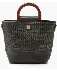 Boohoo - Straw & Wooden Handle Bucket Bag - Lyst