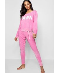 Boohoo - Milly Burnout Tie Front Slogan Lounge Set - Lyst