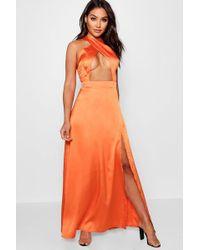 c339297d3c824 Boohoo - Jen Satin Cross Front Thigh Split Maxi Dress - Lyst