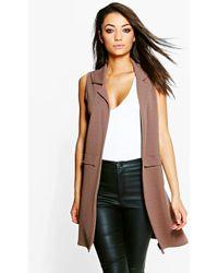 Boohoo - Tall Clarise Textured Sleeveless Duster Coat - Lyst