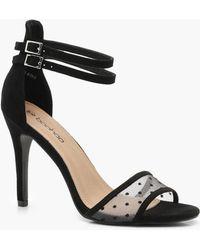 bb285d2f11ce Lyst - Boohoo Eloise Peeptoe Block Heel Shoe Boot in Black