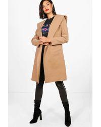 Boohoo - Hooded Coat - Lyst