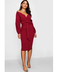 316c3f367397 Lyst - Boohoo Off The Shoulder Frill Midi Bodycon Dress in Red